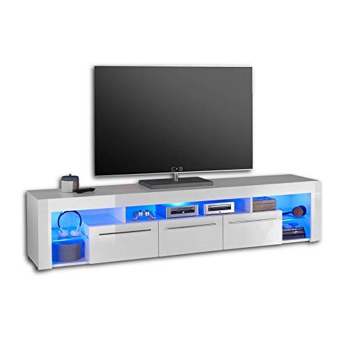 GOAL TV-Lowboard in Hochglanz Weiß mit blauer LED-Beleuchtung - hochwertiges TV-Board mit viel Stauraum für Ihr Wohnzimmer - 200 x 44 x 44 cm (B/H/T)