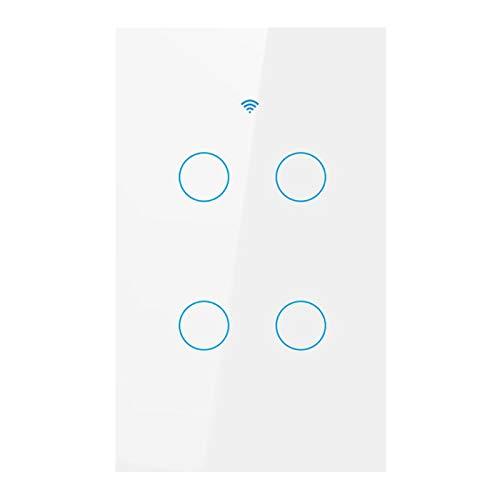 #N/a Interruptor de luz táctil WiFi, interruptor inteligente apto para Alexa/Google Home, aplicación de vida inteligente interruptor de temporizador de - Blanco 4 interruptor