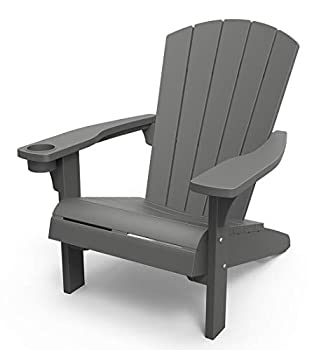 Keter Furniture Patio Chairs with Cup Holder-Perfect for Beach Pool and Fire Pit Seating Dark Grey