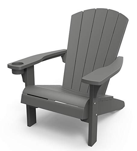 KETER Alpine Adirondack Resin Outdoor Furniture Patio Chairs with Cup Holder-Perfect for Beach, Pool, and Fire Pit Seating, Dark Grey