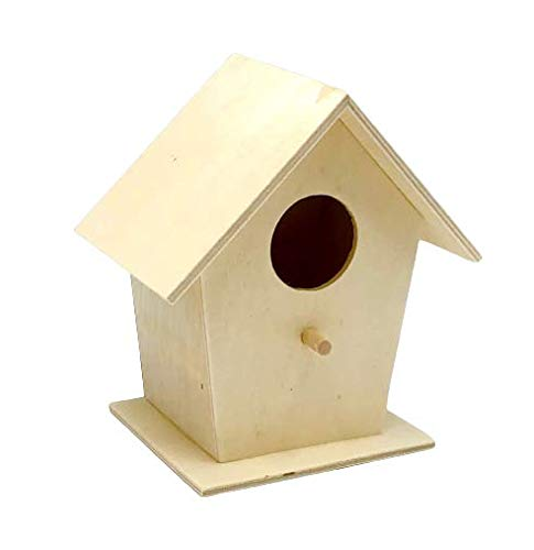 Desconocido Casita para pájaros Comedero Colgante de Aves Adorno de jardín Madera Natural 14x13x8 cm Clásica al Aire Libre Interior Nido para Ardilla Colibrí Azul Loro Gorrión Pequeño