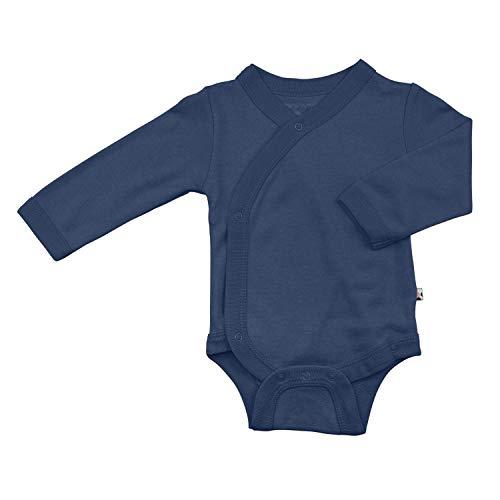 Babysoy - Body de kimono sólido moderno de manga larga orgánico - azul - 12 -18 meses