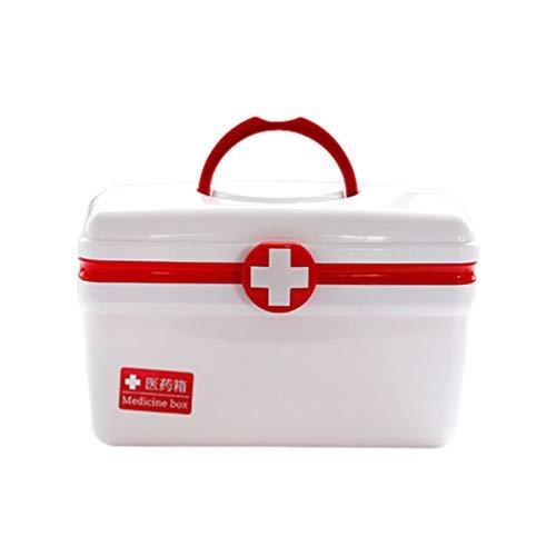 Healifty Caja de Plástico Vacía para Primeros Auxilios Caja de Almacenamiento de Medicamentos con Asa Y Compartimentos Kit de Emergencia Familiar Tamaño L (Rojo)