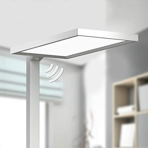Lampenwelt LED Stehlampe silber Metall (A+, inkl. Leuchtmittel) | mit Bewegungsmelder | Büro-Stehleuchte| Standleuchte | Bürolampe für Arbeitszimmer & Büro