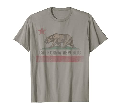 California Republic Bear Flag White Vintage Graphic T-Shirt