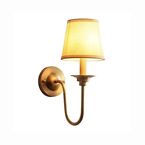 COCNI Iluminación Interior Americana Todo el Cobre Dormitorio Lámpara de Noche Espejo del hogar Lámpara Frontal Moda Tela Simple Sala de Estar Decoración del Pasillo Lámpara de Pared E14