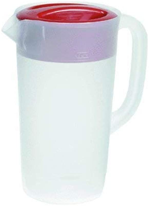 RUBBERMAID Covered Pitcher 2 25 Qt White With Red Cover