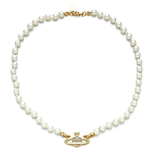 Tixiyu Collar de perlas con diamantes de imitación, diseño de planeta Saturno, ideal como regalo de cumpleaños o aniversario (dorado)
