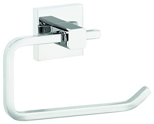 tesa DELUXXE Toilettenpapierhalter ohne Deckel, modernes Design, Metall, verchromt, inkl. Klebelösung, rostfrei, 99mm x 160mm x 45mm