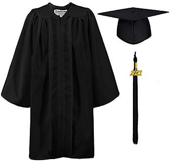 GraduationMall Matte Kindergarten & Preschool Graduation Gown Cap Set with 2021 Tassel Black 27  3 6 -3 8