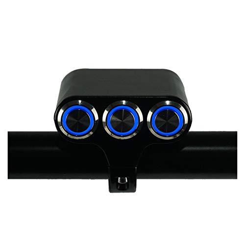linger Interruptor de Motocicleta 7/8'22 mm Montaje de Manillar Montaje Faro Freno Freno Freno Luz de Niebla Encendido/Apagado Aluminio con indicador LED (Color : Blue Light)