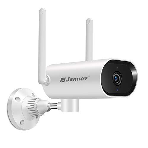 Jennov 5MP Ultra HD Überwachungskamera WLAN 180° schwenkbar IP Kamera 2560 x 1920P Zwei-Wege-Audio IP66 wasserdichte Sicherheitskamera mit Bewegungsverfolgung 2 Antennen IR Nachtsicht 32GB Karte APP