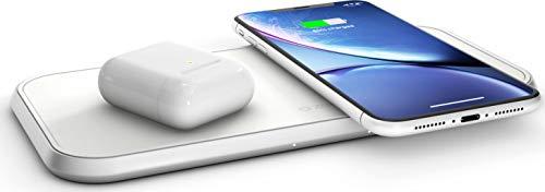 ZENS Qi-Certificado Cargador de Aluminio inalámbrico Dual 2x10W, soporta Carga rápida inalámbrica de hasta 10W - Funciona con Todos los Dispositivos de Carga inalámbricos