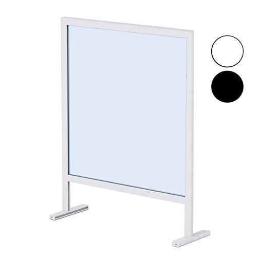 Mampara Protector Mostrador Metacrilato Portátil, Aluminio Blanco y Negro, 92,5x72,5 cm