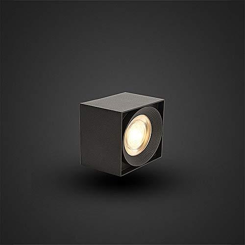 Surface Mounted Licht, Schwarz Weiß COB Square light 12W LED-Decken Birnen-Punkt-Lampe Indoor LED-Beleuchtung Neutral Licht,Schwarz