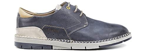 FLUCHOS - Zapato Casual de cordón, Plano, con Suela de Goma, cuña pequeña, para: Hombre Color: Oceano Talla:42