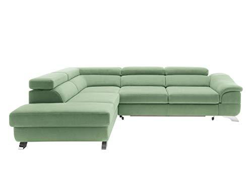 Mirjan24 Polsterecke Lagos! Ecksofa Eckcouch mit Bettkasten und Schlaffunktion! einstellbare Kopfstützen! Schlafsofa L-Form Couch Couchgarnitur! Wohnlandschaft (Ecksofa Links - OT-2R, Orion 15)