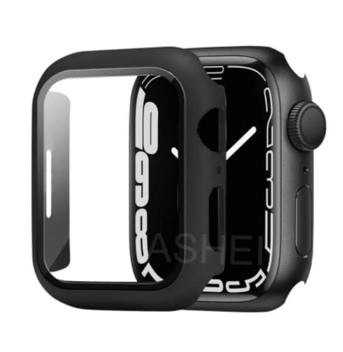 YSYY Screen Protector and Case For Apple Watch Series 7 Case 41mm 45mm Ultra-Thin Hard Pc Bumper HD Tempered Glass Cover For Iwatch 7 41mm 45mm (41mm,Black)