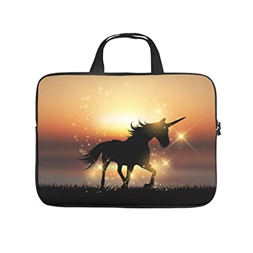 Facbalaign Bolsa para portátil con diseño de unicornio y puesta de sol, resistente a los arañazos con asa., Blanco, 13 pulgadas,
