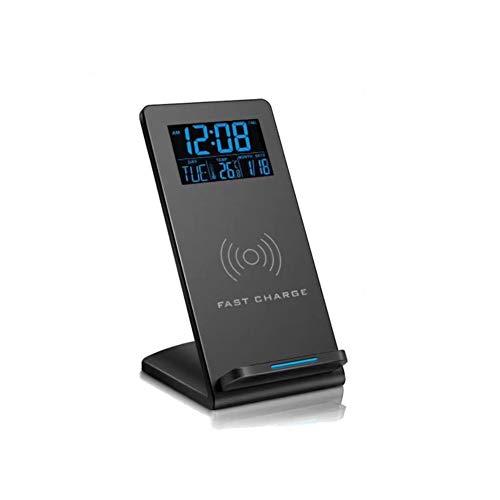 Reloj despertador digital con carga inalámbrica y pantalla LED de calendario de temperatura de tiempo, base de carga inalámbrica Qi de 10 vatios para iPhone 11, XR, XS, X, 8, Galaxy S10 S9 S8...