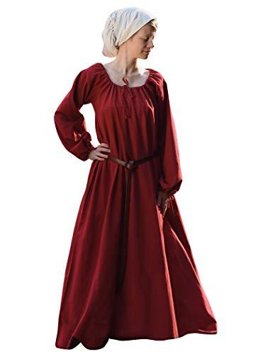 Battle Merchant - Vestido Medieval Vikingo Ana - Ideal para Larp - Rojo - XL
