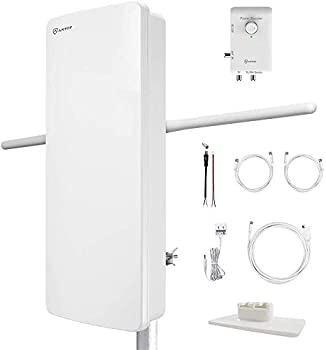ANTOP HDTV Antenna Outdoor Indoor TV Antenna UHF/VHF Enhanced FM Amplifier Antenna with 4G Filter and Dual Outputs Smart Boost System Support a Second TV or Various Playback Devices