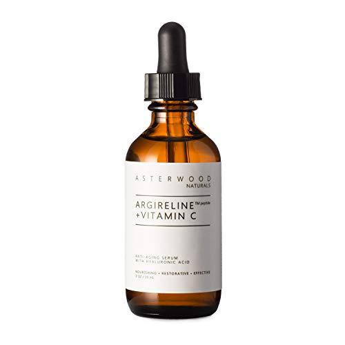 ARGIRELINE Peptide + Vitamin C 2 oz Serum with Organic Hyaluronic Acid, Anti Aging, Amazing Sun Damage Repair and Botox Alternative ASTERWOOD NATURALS Glass Bottle