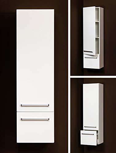 Quentis Badschrank, Höhe 143 cm, wandhängend, eine Türe und eine Schublade, weiß glänzend, vormontiert