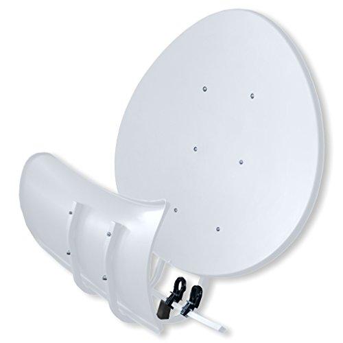 Satspiegel Toroidal (Wavefrontier) T90 P - lichtgrau - Multifocus Antenne - inkl. 5 Stück LNB Halter - Neueste Generation