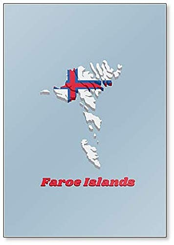 Kühlschrankmagnet Karte & Flagge der Färöer Inseln