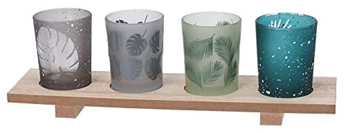 Set di 5 portacandele con vassoio in legno, portacandele a forma di foglie, decorazione da tavolo