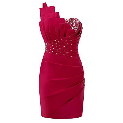 BINGQZ Damen/Elegant Kleid/Cocktailkleider Gerade kurzes Abendkleid Formales Partykleid One Shoulder Backless Satin Perlen Abendkleider