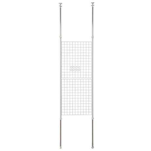 [山善] 突っ張り パーテーション 幅60cm メッシュ 高さ調節(166.5-295.5cm) フック付 アジャスター 壁面 賃貸 収納 組立品 ホワイト SP-60(W)