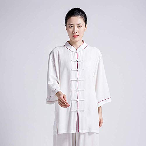 JTKDL Tai Chi Coton Et Lin pour Femmes Style Chinois Printemps Et été Tai Chi Vêtements De Pratique des Arts Martiaux Vêtements,G-M