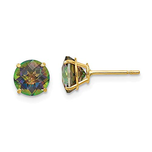 14ct Yellow Gold Round Mystic Topaz 6mm Post Earrings