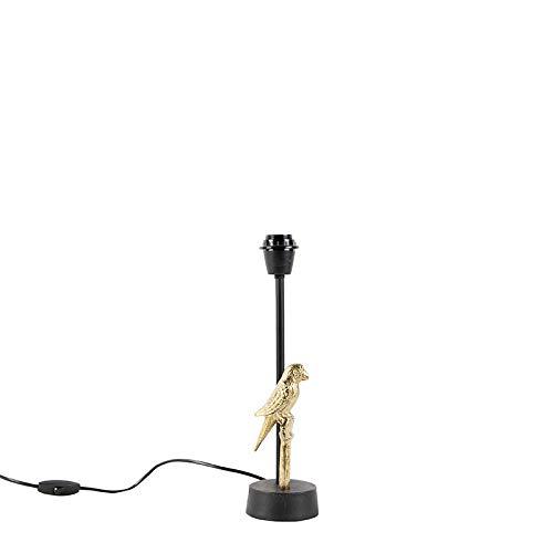 QAZQA Art Deco Art Deco tafellamp zwart met goud 39 cm zonder kap - Pajaro Aluminium Langwerpig Geschikt voor LED Max. 1 x 40 Watt