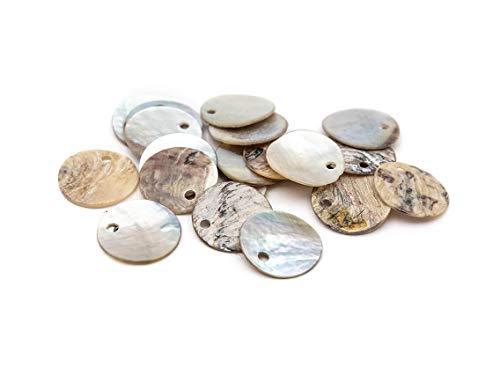 Vintageparts Plättchen aus Perlmutt naturfarben 15 mm 20 Stück