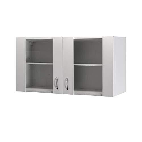 Flex-Well Glas-Hängeschrank UNNA - Oberschrank vielseitig einsetzbar - 2-türig - Breite 100 cm - Weiß