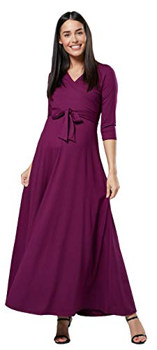 Happy Mama. Damen 2in1 Umstands gerafften Stillkleid Maxikleid 3/4 Ärmel 608p (Pflaume, EU 42, XL)
