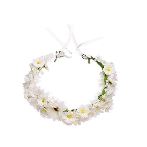 Minkissy Gänseblümchen Blume Stirnband Sonnenblume Haar Krone Verstellbare Haar Kränze Blumengirlanden für Festival Hochzeit