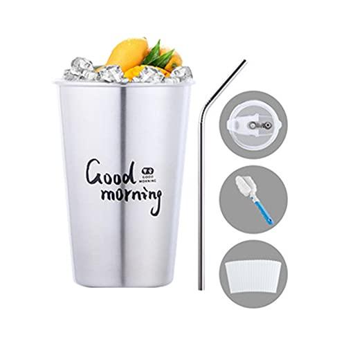 AOTEMAN Taza de agua,tazas de agua de acero inoxidable con popotes y tapas a prueba de fugas,tazas de viaje de café,tazas de café portátiles,para bebidas frías o calientes