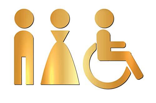 Simbolo Uomo Donna Disabili WC Bagno Toilette Porta Omini Segnale Targa Porta Targhetta Adesiva Segnaletica Oro Lucido