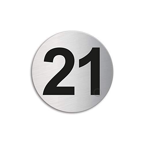 Plaque Numéro de porte 21 | Ø 60 mm autocollant | acier inox brossé 7294-21