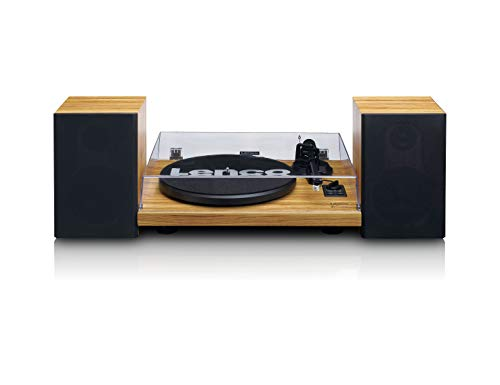 Platenspeler (Wood Ls-500 met 2 luidsprekers, bluetooth, 2 x 30 watt