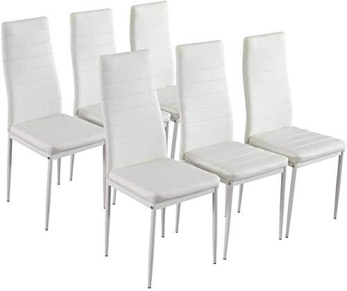 Juego de 6 sillas de Comedor Modernas con Respaldo Alto y Marco de Metal, Asiento Acolchado para Comedor, Cocina, Sala de Estar, Muebles de Oficina, ColorBlanco