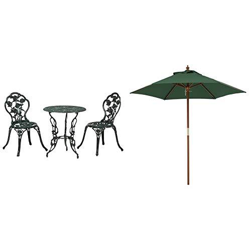 タカショー(Takasho) テーブルセットローズ 青銅色 60φ /A(テーブル1台、チェアー2脚) SGT-15VN & ウッドパラソル2.1mグリーン【セット買い】
