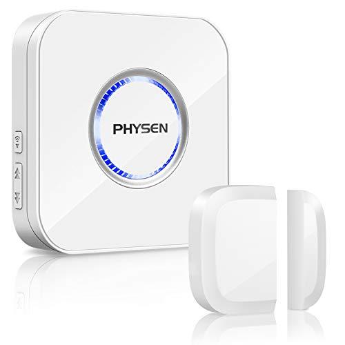 Tür Fenster Sensor Klingel PHYSEN Türsensor mit Magnetsensor, Drahtlose Home Security Alarmanlage, 58 Klingeltöne mit LED-Anzeige für Zuhause/Büro/Geschäfte, Weiß