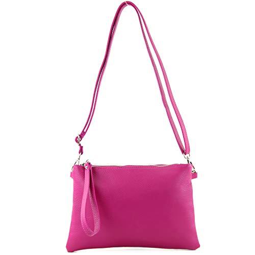 modamoda de - T186 - ital. Clutch Umhängetasche Leder Medium, Farbe:Pink