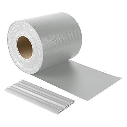 Sekey PVC Sichtschutzstreifen Rolle Zaunfolie Blickdicht Anti-UV Wetterfest und Anti-Fading Windschutz für Doppelstabmatten Zaun mit 26 x Befestigungsclips 19 cm x 50 m Grau