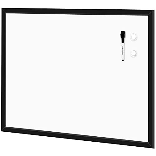 Amazon Basics - Pizarrón blanco magnético de borrado en seco con marco MDF, 58 cm x 88 cm